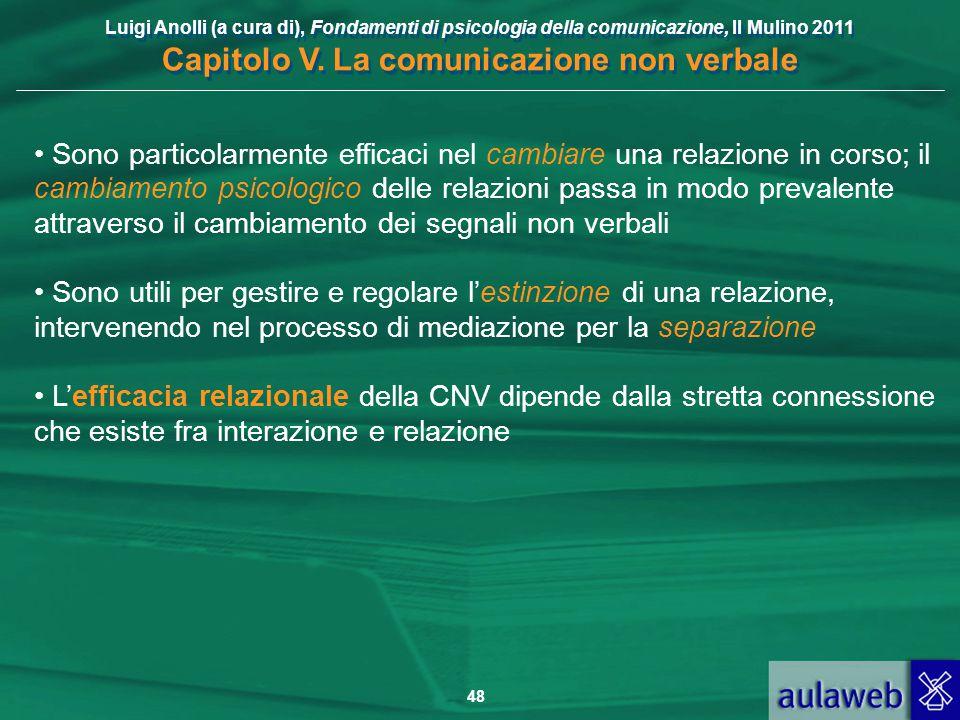 Luigi Anolli (a cura di), Fondamenti di psicologia della comunicazione, Il Mulino 2011 Capitolo V. La comunicazione non verbale 48 Sono particolarment