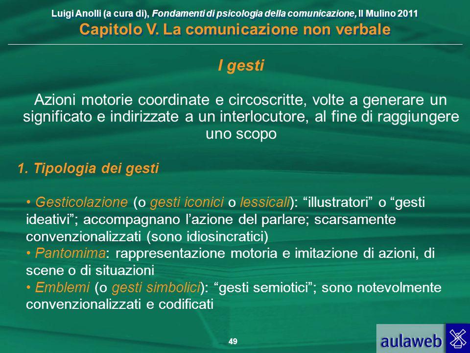Luigi Anolli (a cura di), Fondamenti di psicologia della comunicazione, Il Mulino 2011 Capitolo V. La comunicazione non verbale 49 I gesti Azioni moto