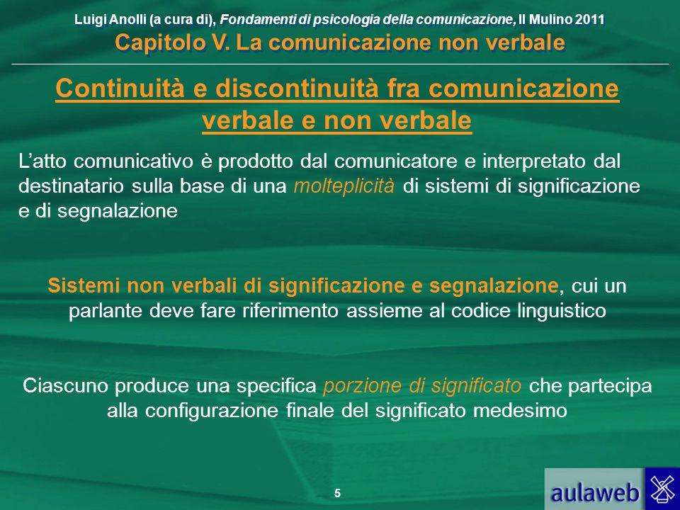 Luigi Anolli (a cura di), Fondamenti di psicologia della comunicazione, Il Mulino 2011 Capitolo V. La comunicazione non verbale 5 Continuità e discont