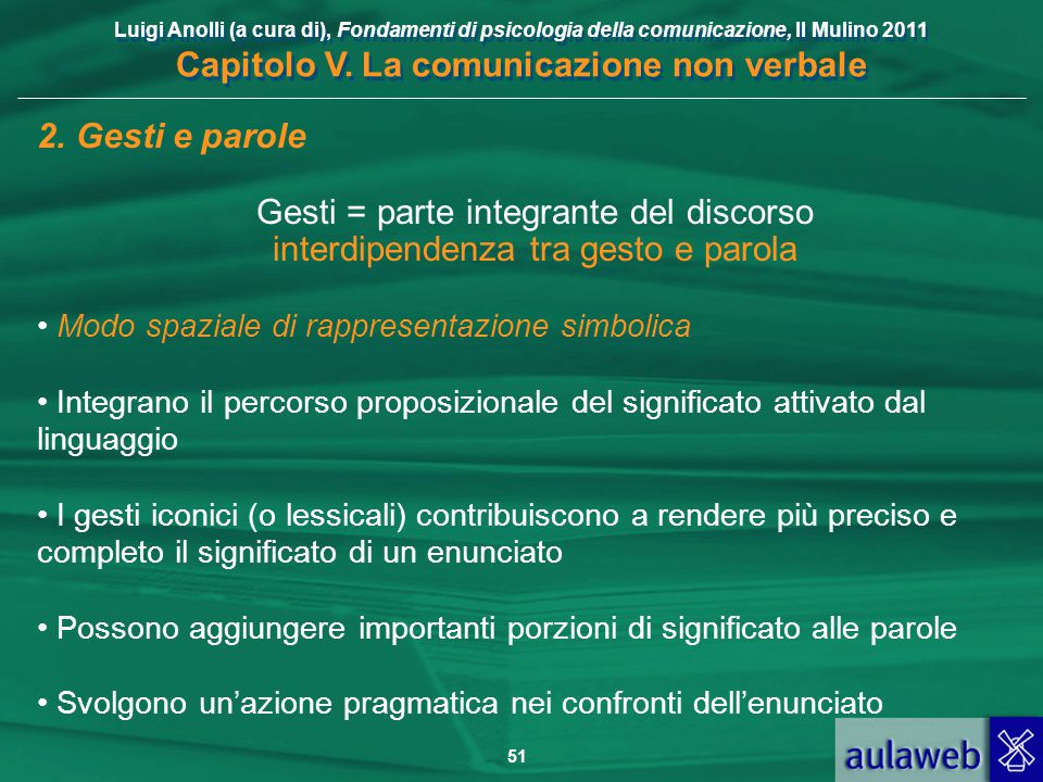 Luigi Anolli (a cura di), Fondamenti di psicologia della comunicazione, Il Mulino 2011 Capitolo V. La comunicazione non verbale 51 2. Gesti e parole G