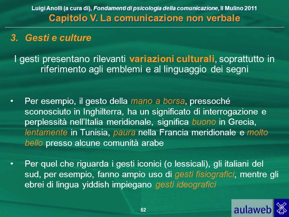 Luigi Anolli (a cura di), Fondamenti di psicologia della comunicazione, Il Mulino 2011 Capitolo V. La comunicazione non verbale 52 3.Gesti e culture I