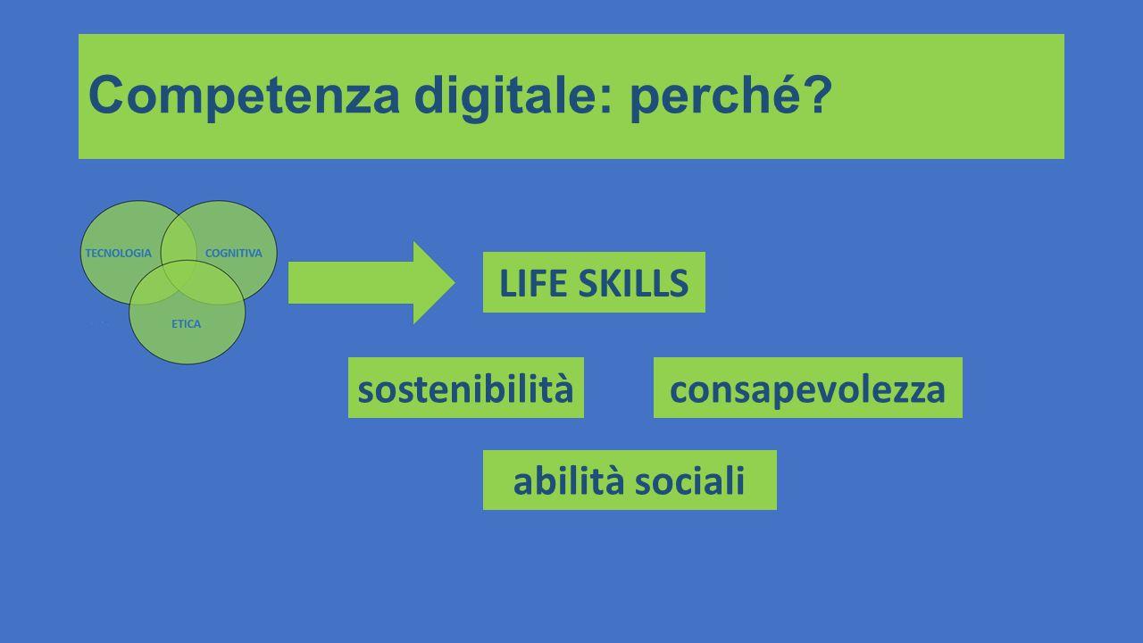 Competenza digitale: perché? LIFE SKILLS sostenibilitàconsapevolezza abilità sociali