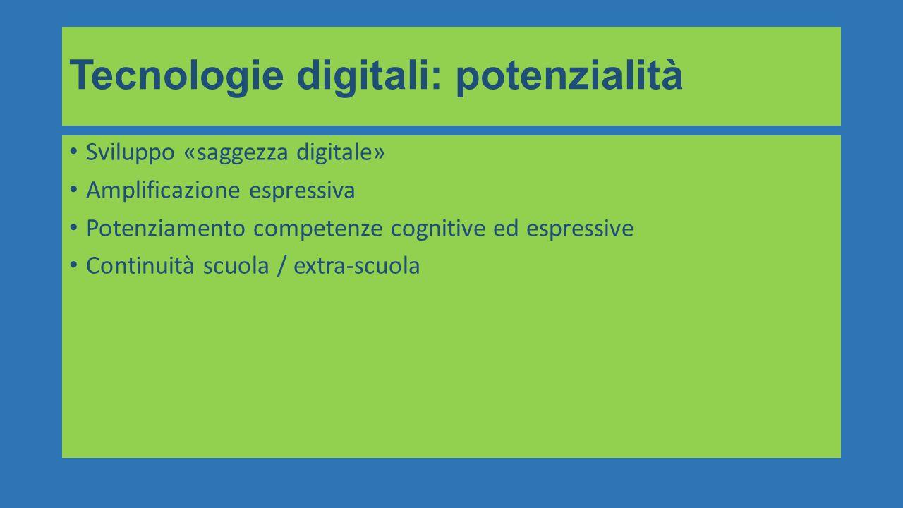 Sviluppo «saggezza digitale» Amplificazione espressiva Potenziamento competenze cognitive ed espressive Continuità scuola / extra-scuola Tecnologie digitali: potenzialità
