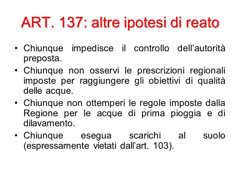 ART. 137: altre ipotesi di reato Chiunque impedisce il controllo dell'autorità preposta.