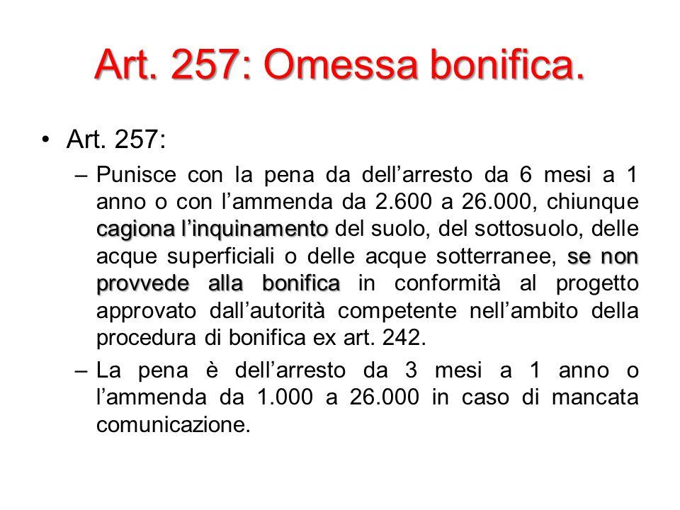 Art. 257: Omessa bonifica. Art.
