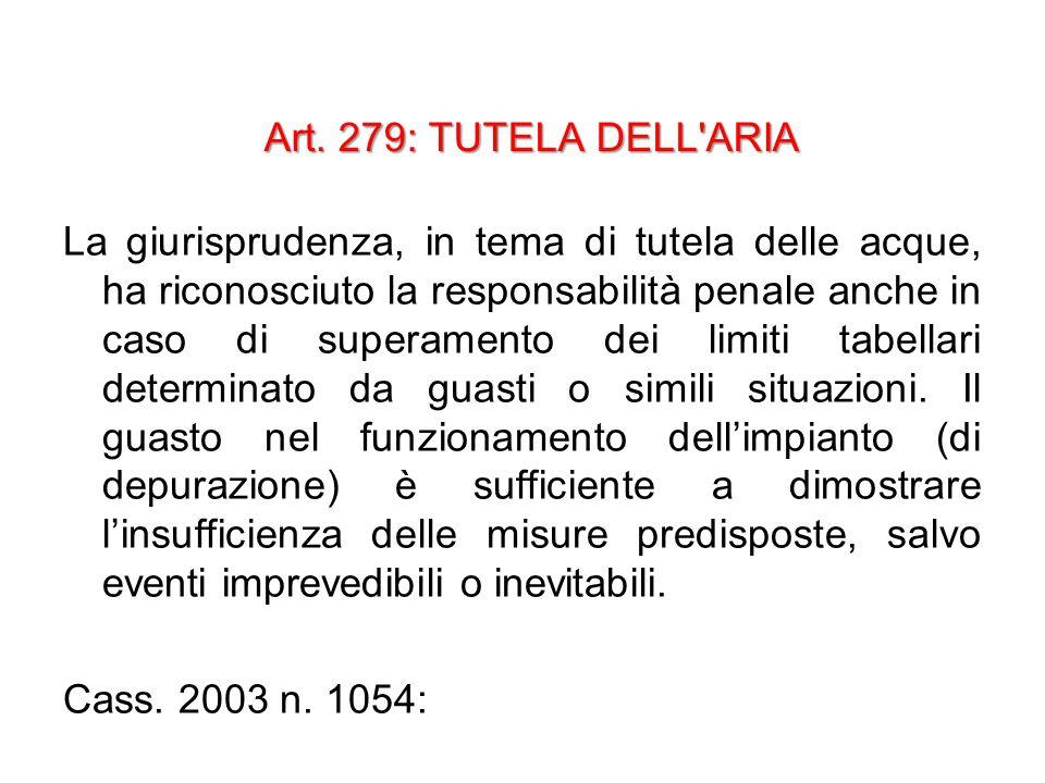 Art. 279: TUTELA DELL'ARIA La giurisprudenza, in tema di tutela delle acque, ha riconosciuto la responsabilità penale anche in caso di superamento dei