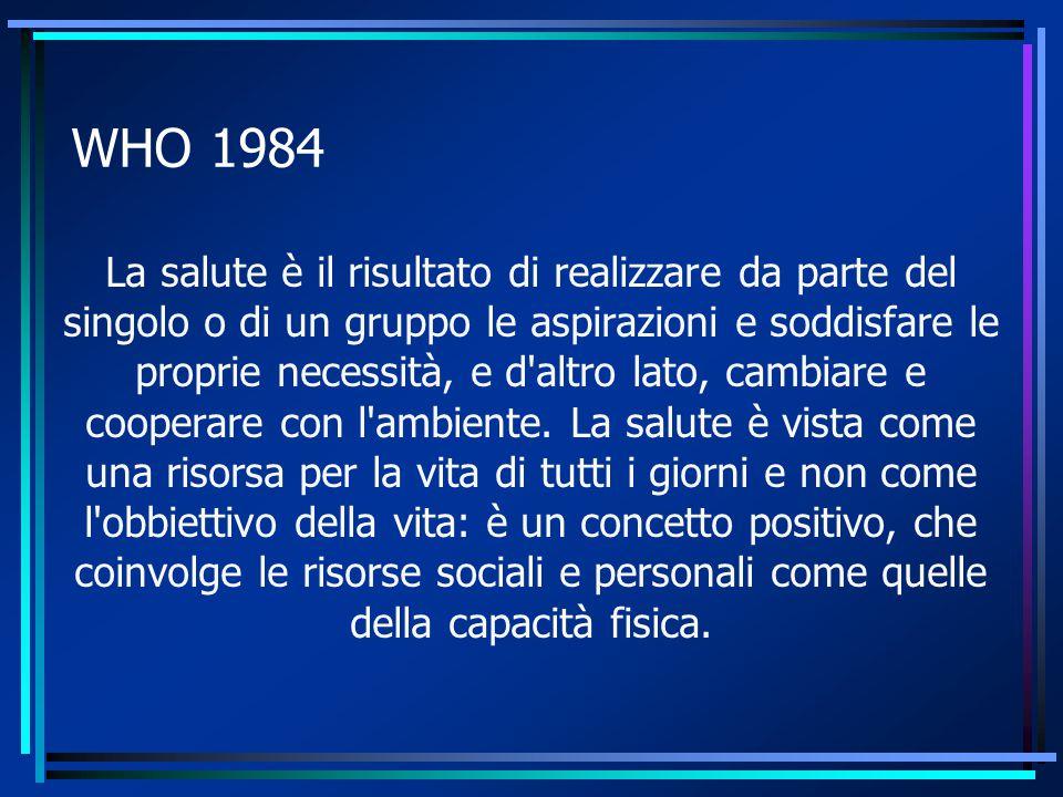 WHO 1984 La salute è il risultato di realizzare da parte del singolo o di un gruppo le aspirazioni e soddisfare le proprie necessità, e d altro lato, cambiare e cooperare con l ambiente.