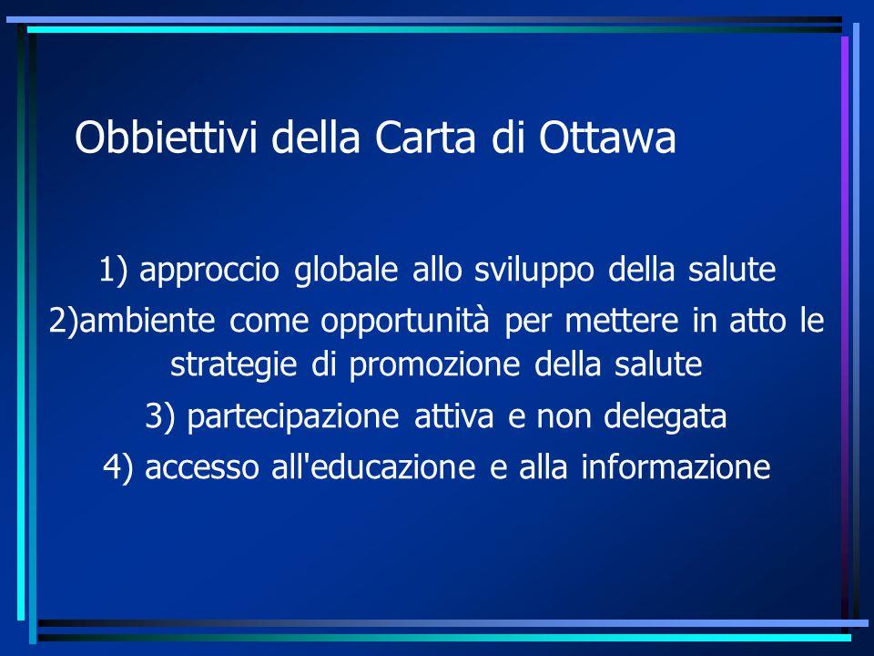 Obbiettivi della Carta di Ottawa 1) approccio globale allo sviluppo della salute 2)ambiente come opportunità per mettere in atto le strategie di promozione della salute 3) partecipazione attiva e non delegata 4) accesso all educazione e alla informazione