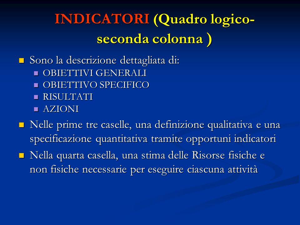 INDICATORI (Quadro logico- seconda colonna ) Sono la descrizione dettagliata di: Sono la descrizione dettagliata di: OBIETTIVI GENERALI OBIETTIVI GENE