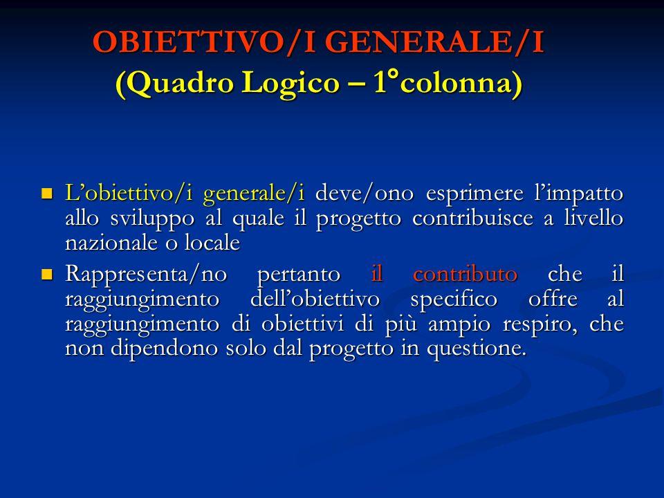 OBIETTIVO/I GENERALE/I (Quadro Logico – 1°colonna) L'obiettivo/i generale/i deve/ono esprimere l'impatto allo sviluppo al quale il progetto contribuis