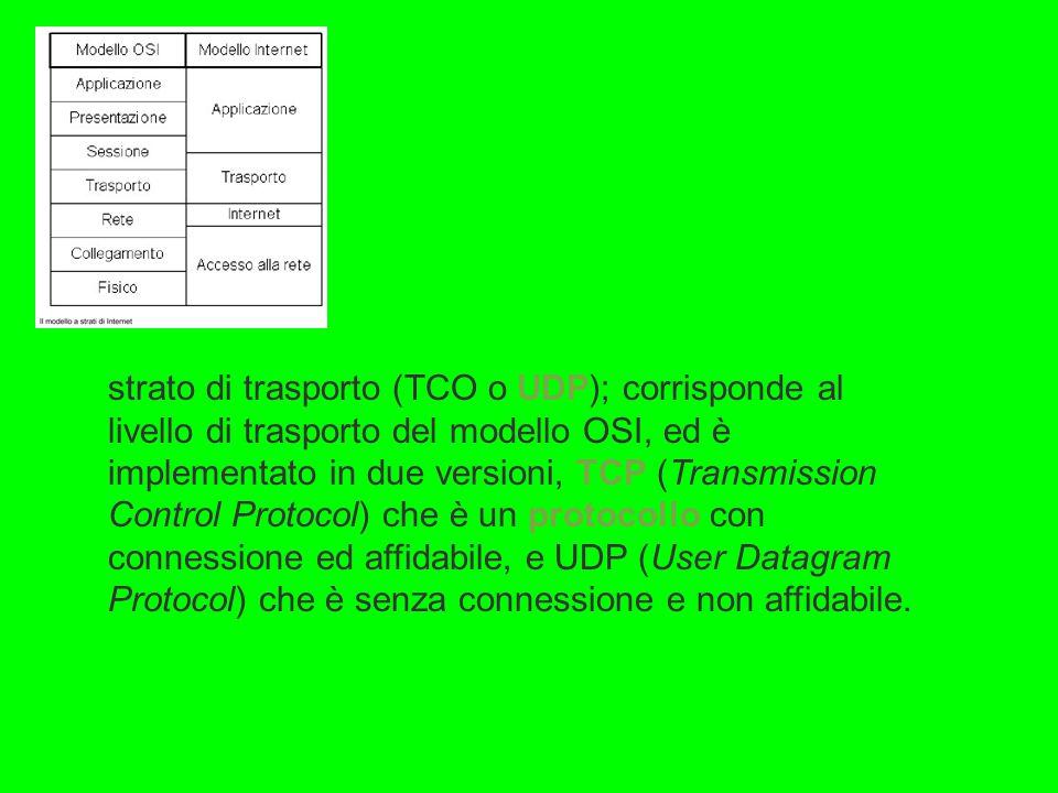 strato di trasporto (TCO o UDP); corrisponde al livello di trasporto del modello OSI, ed è implementato in due versioni, TCP (Transmission Control Protocol) che è un protocollo con connessione ed affidabile, e UDP (User Datagram Protocol) che è senza connessione e non affidabile.
