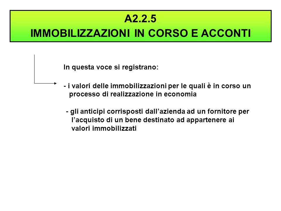 In questa voce si registrano: - i valori delle immobilizzazioni per le quali è in corso un processo di realizzazione in economia A2.2.5 IMMOBILIZZAZIO