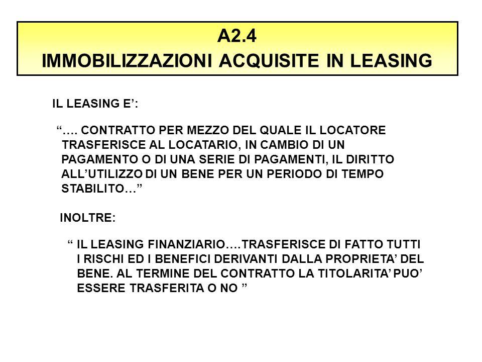 """A2.4 IMMOBILIZZAZIONI ACQUISITE IN LEASING IL LEASING E': """"…. CONTRATTO PER MEZZO DEL QUALE IL LOCATORE TRASFERISCE AL LOCATARIO, IN CAMBIO DI UN PAGA"""