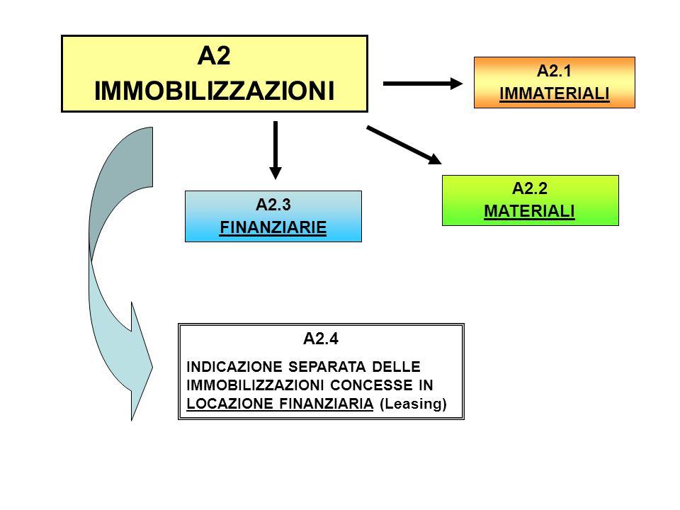 A2 IMMOBILIZZAZIONI A2.1 IMMATERIALI A2.3 FINANZIARIE A2.4 INDICAZIONE SEPARATA DELLE IMMOBILIZZAZIONI CONCESSE IN LOCAZIONE FINANZIARIA (Leasing) A2.