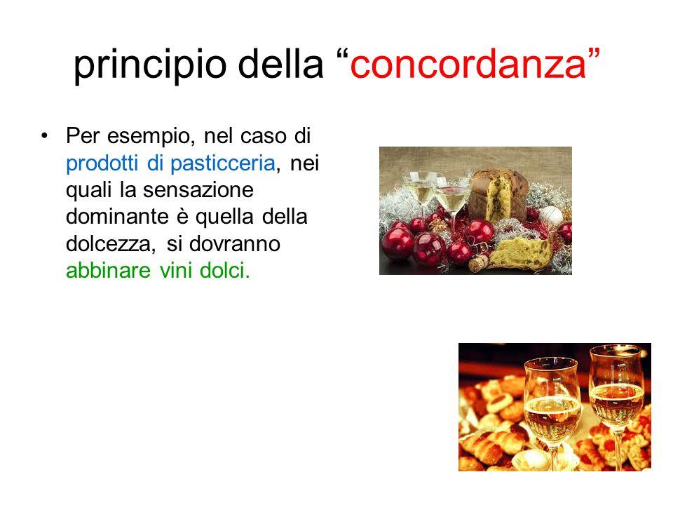 """principio della """"concordanza"""" Per esempio, nel caso di prodotti di pasticceria, nei quali la sensazione dominante è quella della dolcezza, si dovranno"""