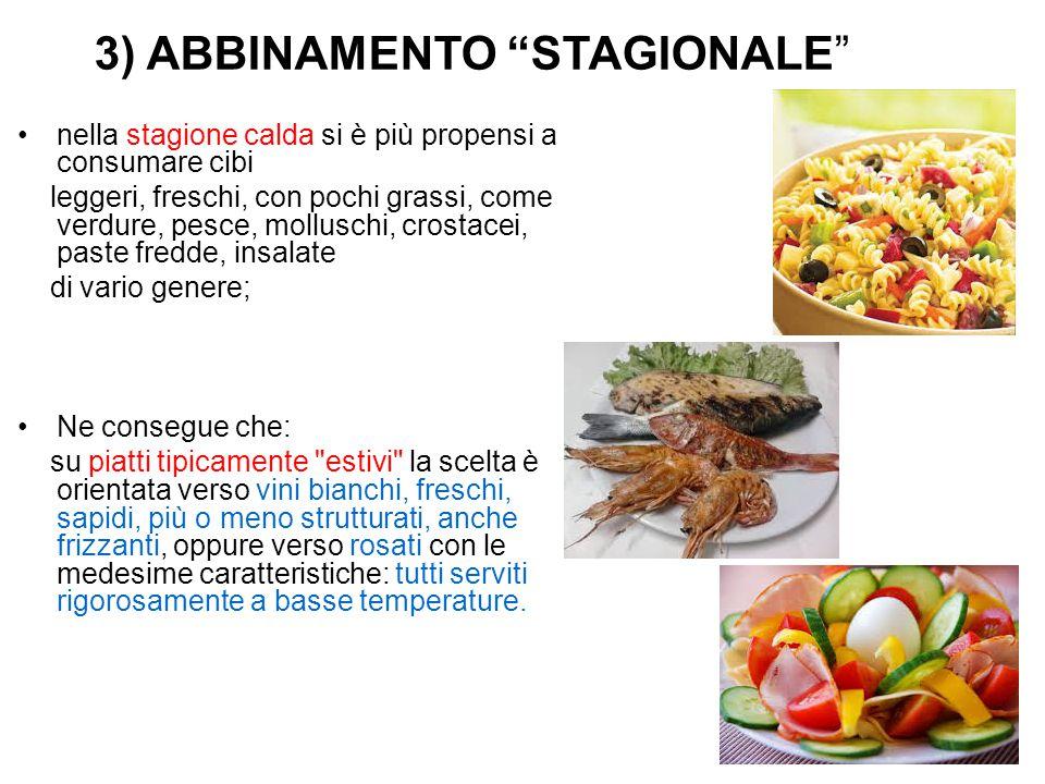 """3) ABBINAMENTO """"STAGIONALE"""" nella stagione calda si è più propensi a consumare cibi leggeri, freschi, con pochi grassi, come verdure, pesce, molluschi"""