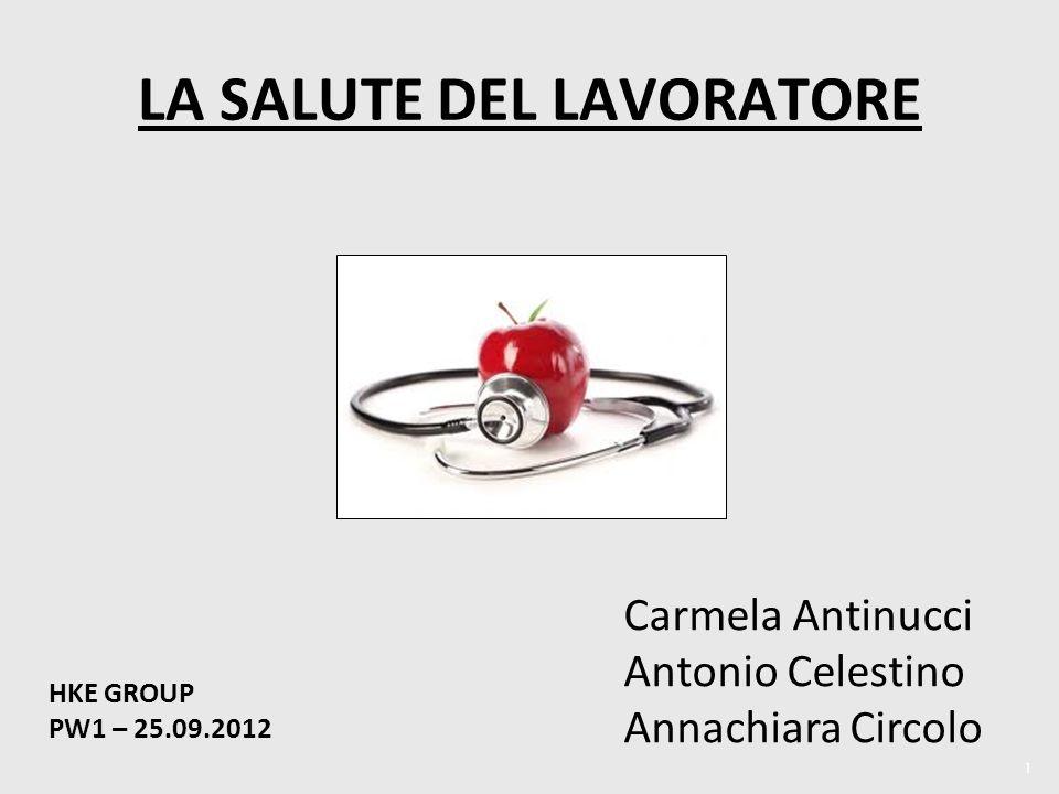 1 LA SALUTE DEL LAVORATORE HKE GROUP PW1 – 25.09.2012 Carmela Antinucci Antonio Celestino Annachiara Circolo