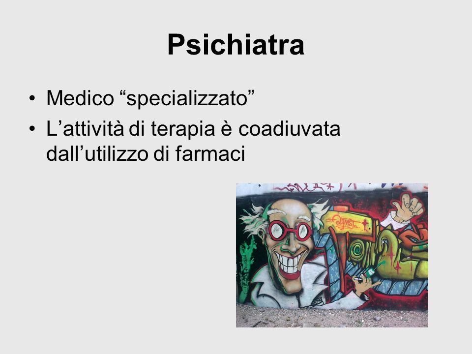 Psichiatra Medico specializzato L'attività di terapia è coadiuvata dall'utilizzo di farmaci
