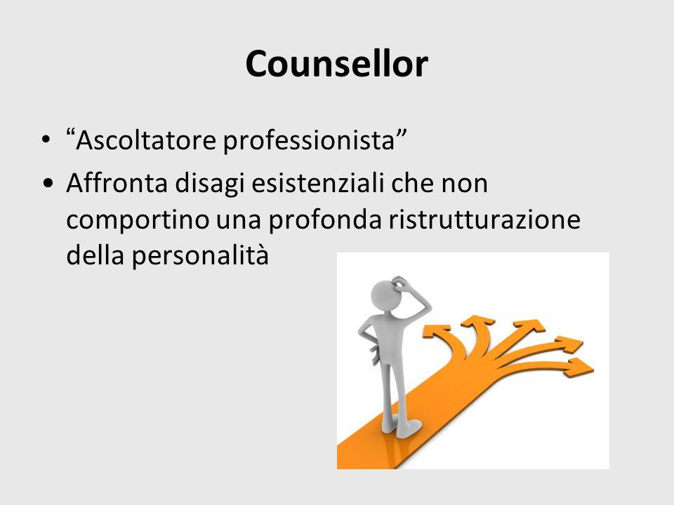 Counsellor Ascoltatore professionista Affronta disagi esistenziali che non comportino una profonda ristrutturazione della personalità