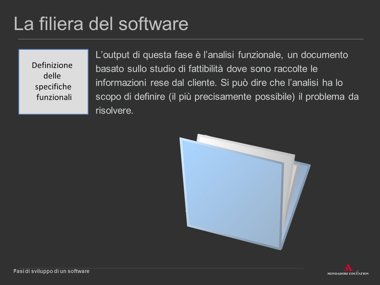 6 La filiera del software L'output di questa fase è l'analisi funzionale, un documento basato sullo studio di fattibilità dove sono raccolte le inform