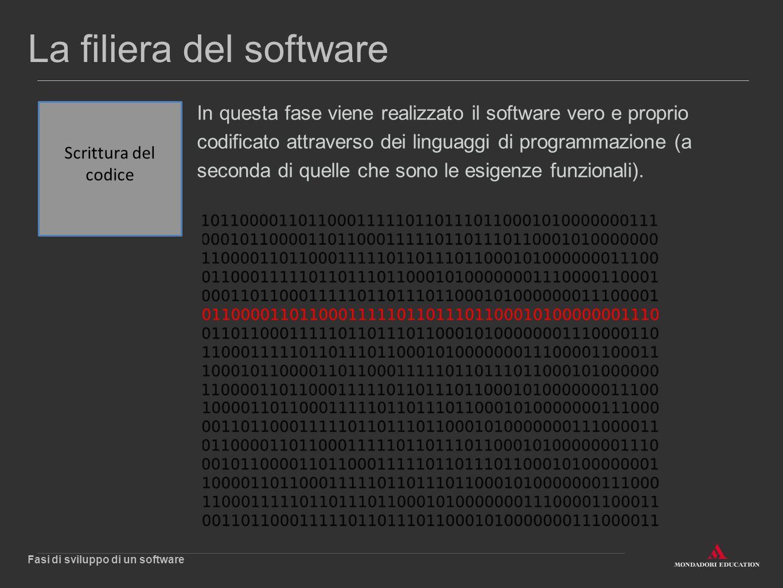 La filiera del software In questa fase viene realizzato il software vero e proprio codificato attraverso dei linguaggi di programmazione (a seconda di