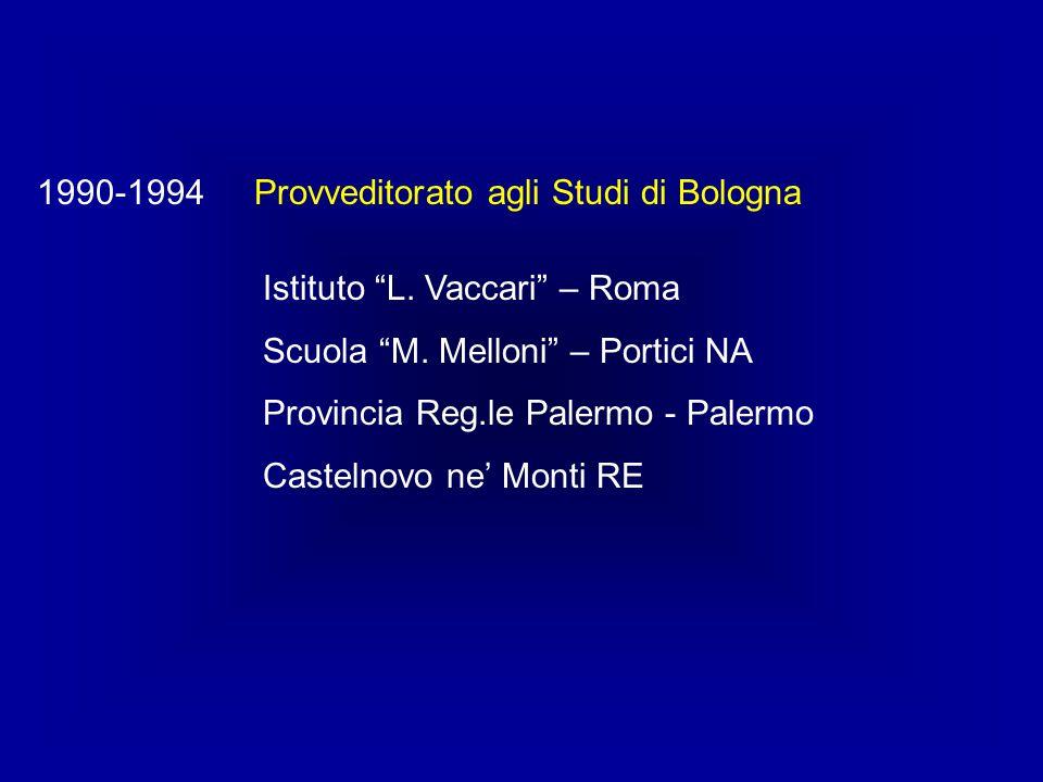 """Provveditorato agli Studi di Bologna1990-1994 Istituto """"L. Vaccari"""" – Roma Scuola """"M. Melloni"""" – Portici NA Provincia Reg.le Palermo - Palermo Casteln"""