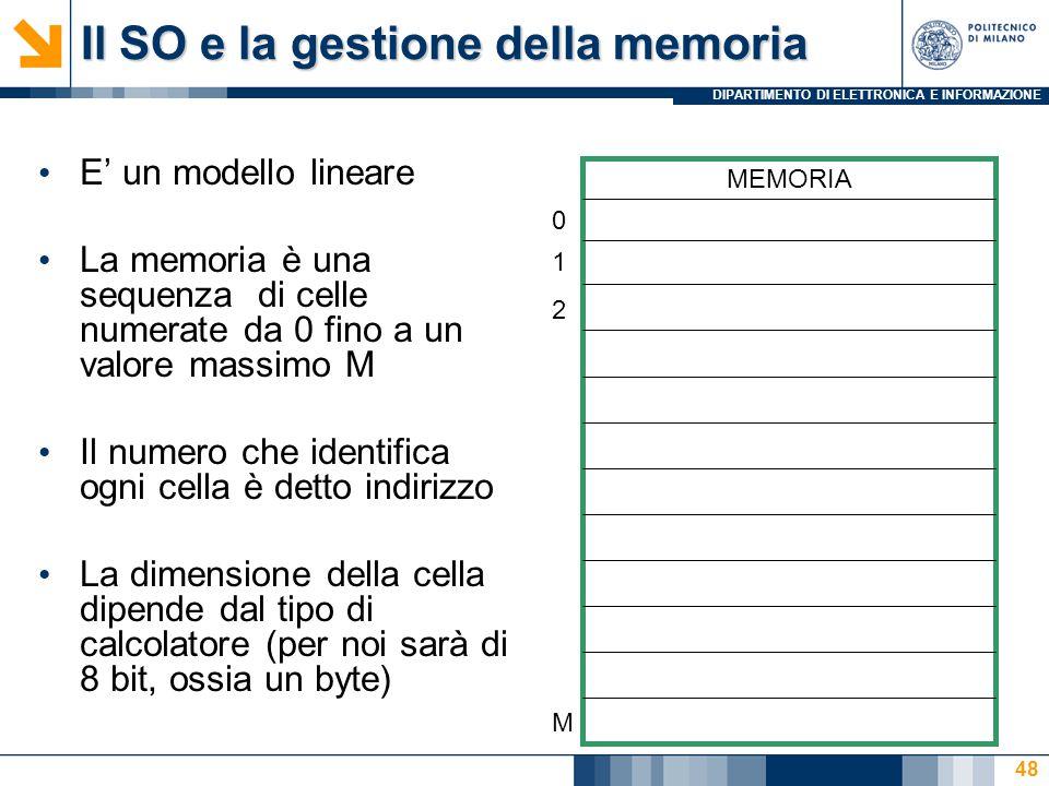 DIPARTIMENTO DI ELETTRONICA E INFORMAZIONE 48 E' un modello lineare La memoria è una sequenza di celle numerate da 0 fino a un valore massimo M Il numero che identifica ogni cella è detto indirizzo La dimensione della cella dipende dal tipo di calcolatore (per noi sarà di 8 bit, ossia un byte) MEMORIA 0 1 2 M Il SO e la gestione della memoria