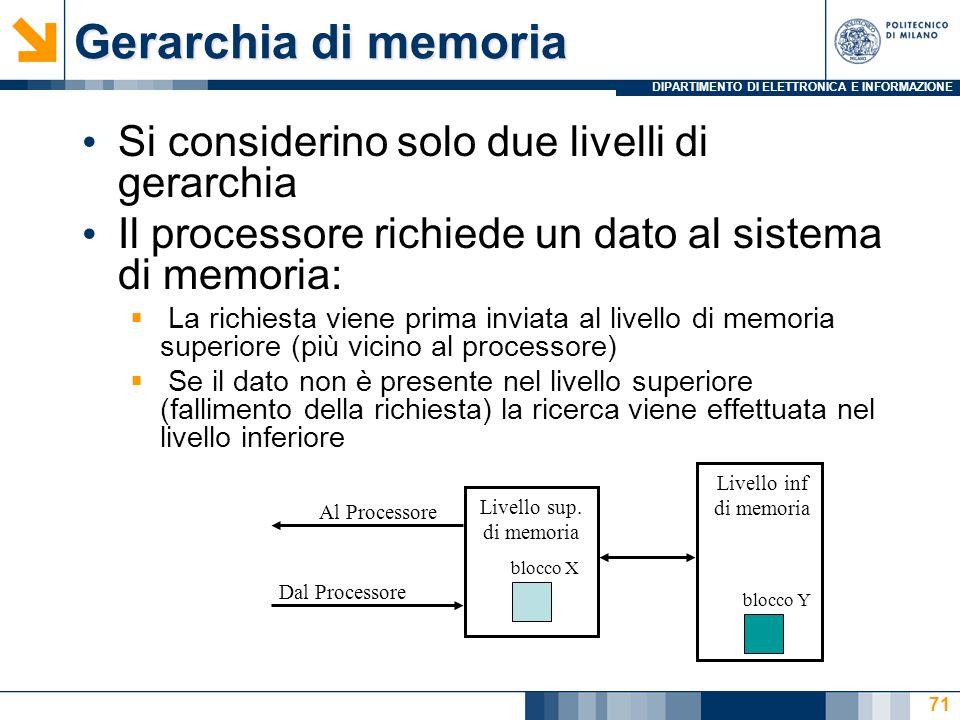 DIPARTIMENTO DI ELETTRONICA E INFORMAZIONE 71 Gerarchia di memoria Si considerino solo due livelli di gerarchia Il processore richiede un dato al sistema di memoria:  La richiesta viene prima inviata al livello di memoria superiore (più vicino al processore)  Se il dato non è presente nel livello superiore (fallimento della richiesta) la ricerca viene effettuata nel livello inferiore Livello inf di memoria Livello sup.