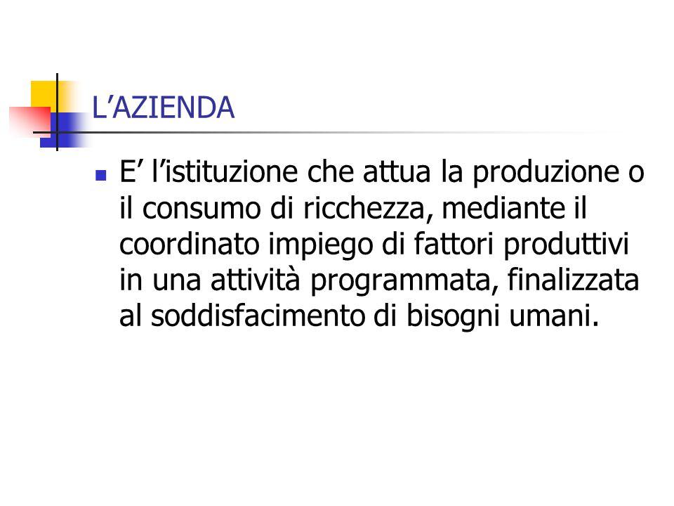 L'AZIENDA E' l'istituzione che attua la produzione o il consumo di ricchezza, mediante il coordinato impiego di fattori produttivi in una attività programmata, finalizzata al soddisfacimento di bisogni umani.