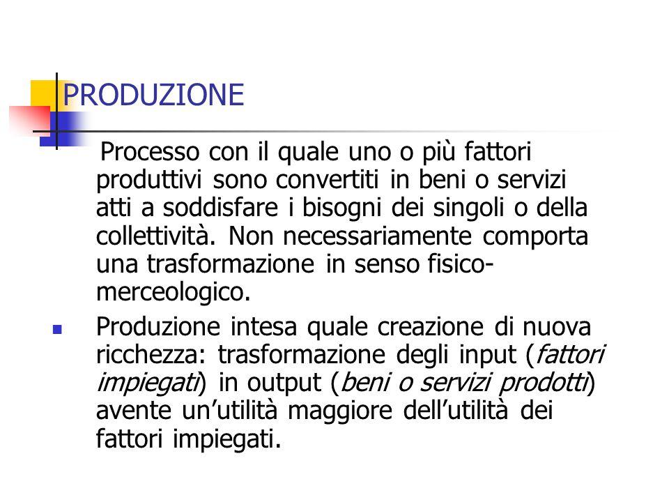 PRODUZIONE Processo con il quale uno o più fattori produttivi sono convertiti in beni o servizi atti a soddisfare i bisogni dei singoli o della collettività.