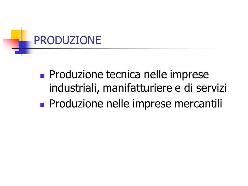 PRODUZIONE Produzione tecnica nelle imprese industriali, manifatturiere e di servizi Produzione nelle imprese mercantili