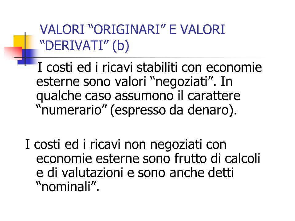 VALORI ORIGINARI E VALORI DERIVATI (b) I costi ed i ricavi stabiliti con economie esterne sono valori negoziati .