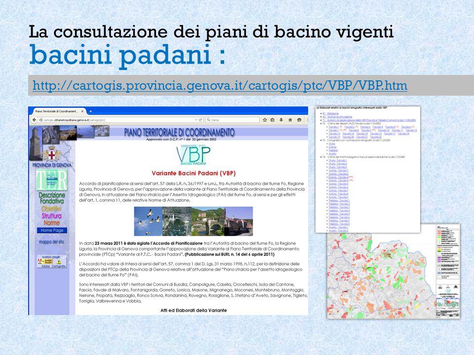 La consultazione dei piani di bacino vigenti bacini padani : http://cartogis.provincia.genova.it/cartogis/ptc/VBP/VBP.htm