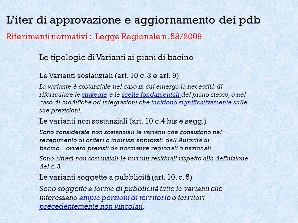 L'iter di approvazione e aggiornamento dei pdb Riferimenti normativi : Legge Regionale n. 58/2009 Le tipologie di Varianti ai piani di bacino Le Varia