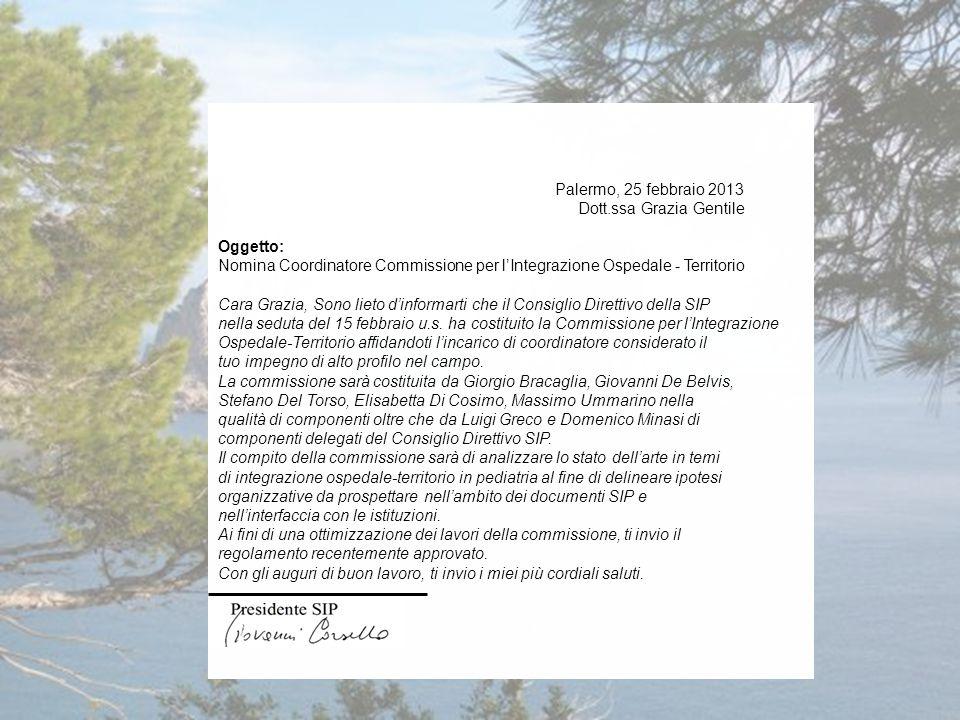 Palermo, 25 febbraio 2013 Dott.ssa Grazia Gentile Oggetto: Nomina Coordinatore Commissione per l'Integrazione Ospedale - Territorio Cara Grazia, Sono lieto d'informarti che il Consiglio Direttivo della SIP nella seduta del 15 febbraio u.s.