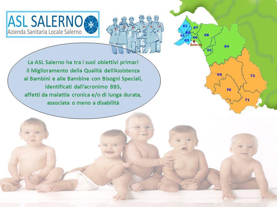 La ASL Salerno ha tra i suoi obiettivi primari il Miglioramento della Qualità dell'Assistenza ai Bambini e alle Bambine con Bisogni Speciali, identificati dall'acronimo BBS, affetti da malattia cronica e/o di lunga durata, associata o meno a disabilità