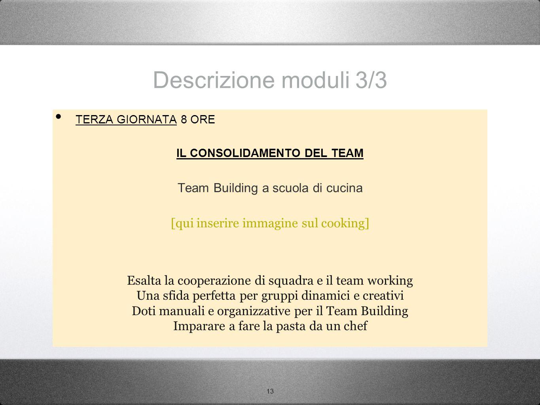 13 Descrizione moduli 3/3 TERZA GIORNATA 8 ORE IL CONSOLIDAMENTO DEL TEAM Team Building a scuola di cucina [qui inserire immagine sul cooking] Esalta