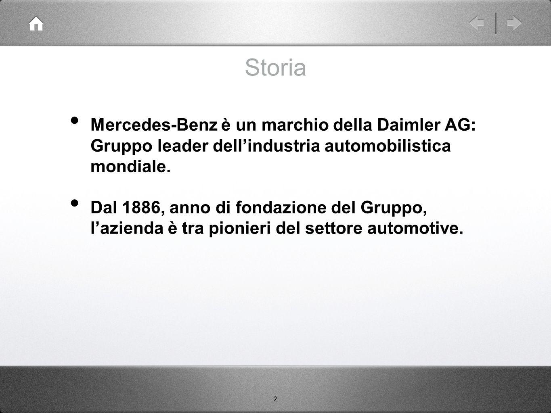 2 Mercedes-Benz è un marchio della Daimler AG: Gruppo leader dell'industria automobilistica mondiale. Dal 1886, anno di fondazione del Gruppo, l'azien
