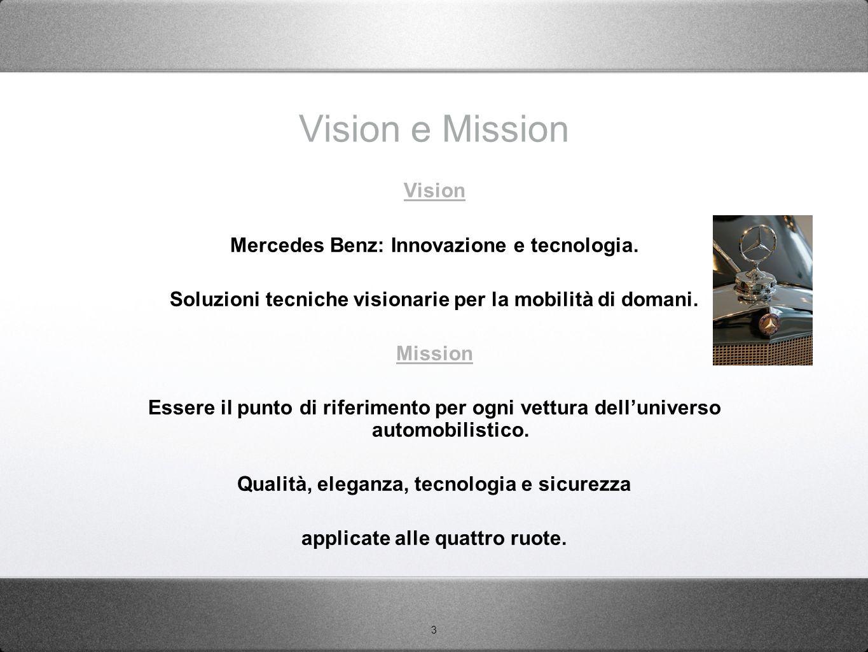 3 Vision e Mission Vision Mercedes Benz: Innovazione e tecnologia. Soluzioni tecniche visionarie per la mobilità di domani. Mission Essere il punto di