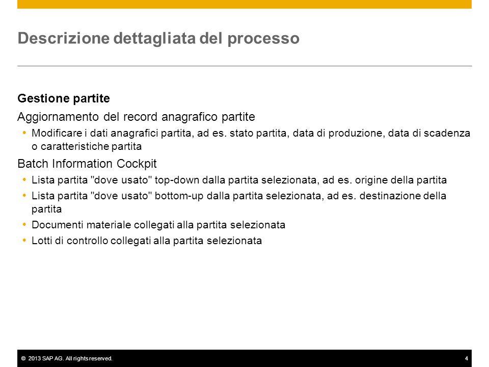 ©2013 SAP AG. All rights reserved.4 Descrizione dettagliata del processo Gestione partite Aggiornamento del record anagrafico partite  Modificare i d