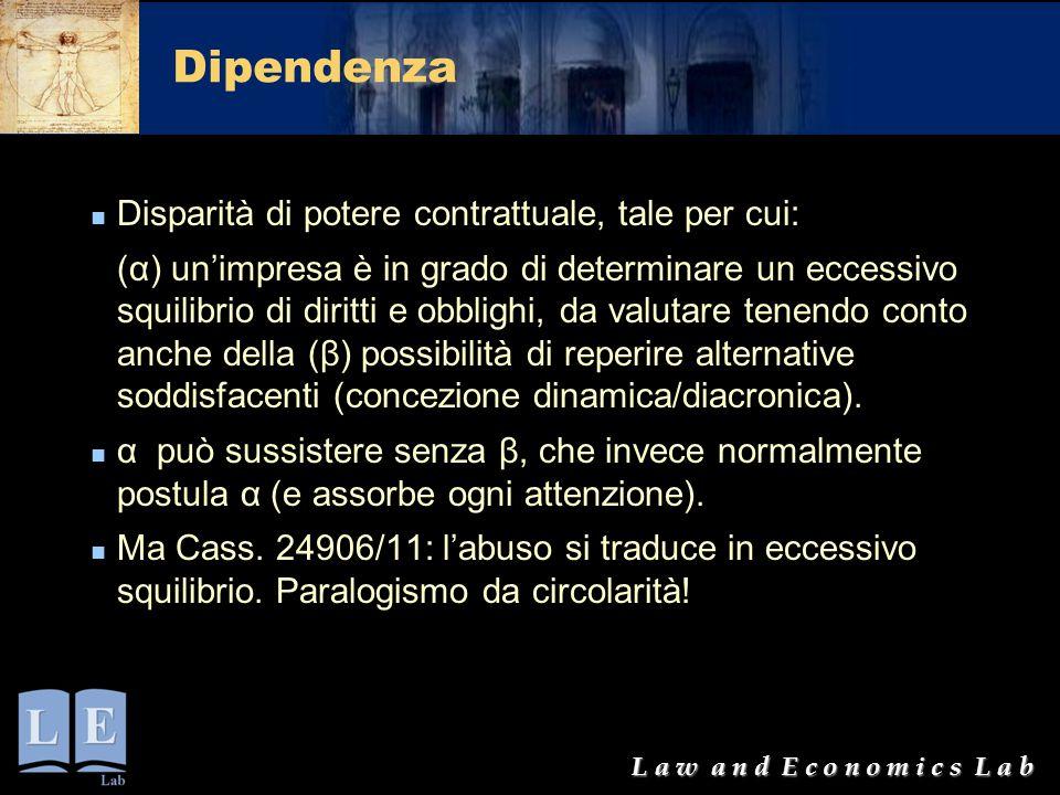 L a w a n d E c o n o m i c s L a b Dipendenza Disparità di potere contrattuale, tale per cui: (α) un'impresa è in grado di determinare un eccessivo s