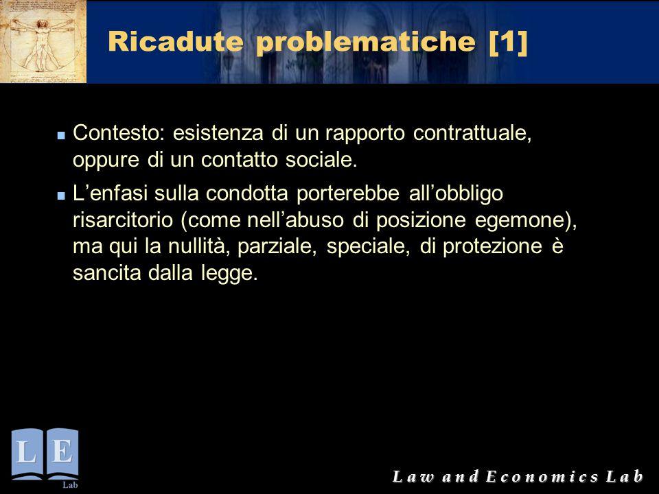 L a w a n d E c o n o m i c s L a b Ricadute problematiche [1] Contesto: esistenza di un rapporto contrattuale, oppure di un contatto sociale. L'enfas