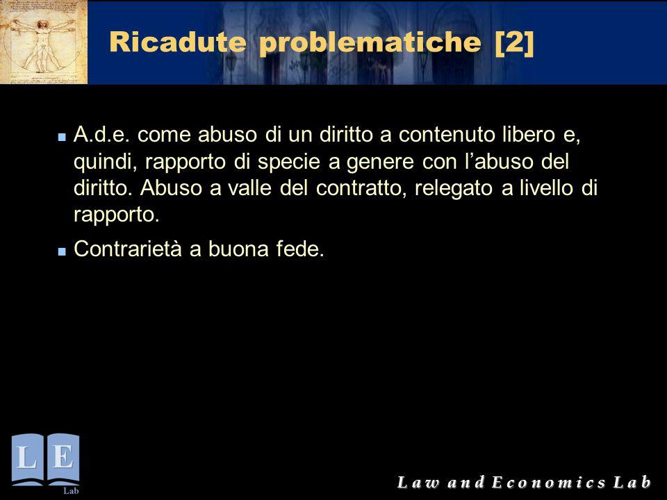L a w a n d E c o n o m i c s L a b Ricadute problematiche [2] A.d.e. come abuso di un diritto a contenuto libero e, quindi, rapporto di specie a gene