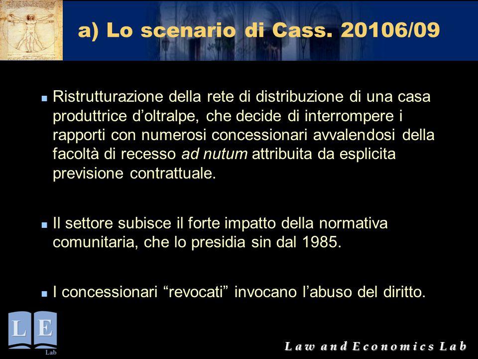 L a w a n d E c o n o m i c s L a b a) Lo scenario di Cass. 20106/09 Ristrutturazione della rete di distribuzione di una casa produttrice d'oltralpe,