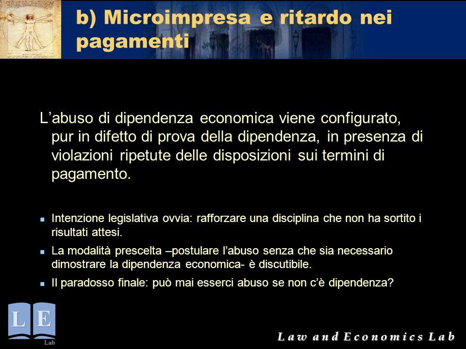 L a w a n d E c o n o m i c s L a b b) Microimpresa e ritardo nei pagamenti L'abuso di dipendenza economica viene configurato, pur in difetto di prova