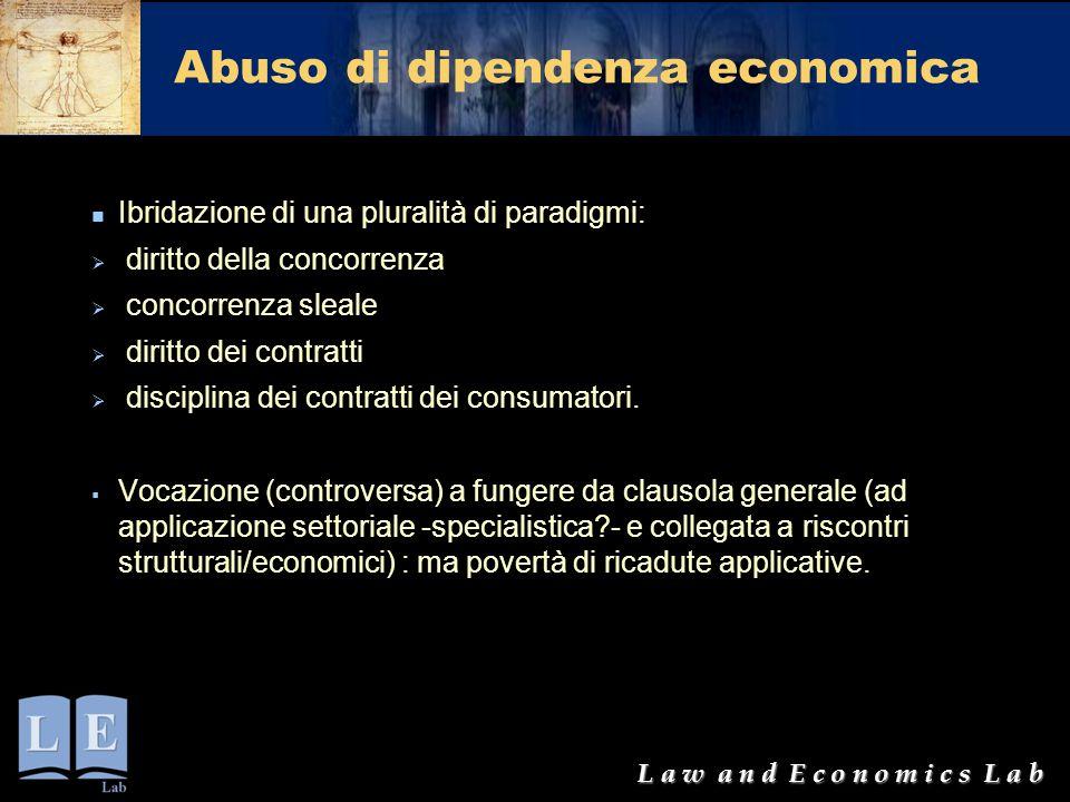 L a w a n d E c o n o m i c s L a b Abuso di dipendenza economica Ibridazione di una pluralità di paradigmi:  diritto della concorrenza  concorrenza