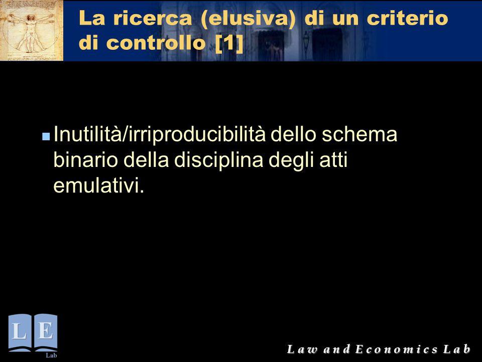 L a w a n d E c o n o m i c s L a b La ricerca (elusiva) di un criterio di controllo [1] Inutilità/irriproducibilità dello schema binario della discip