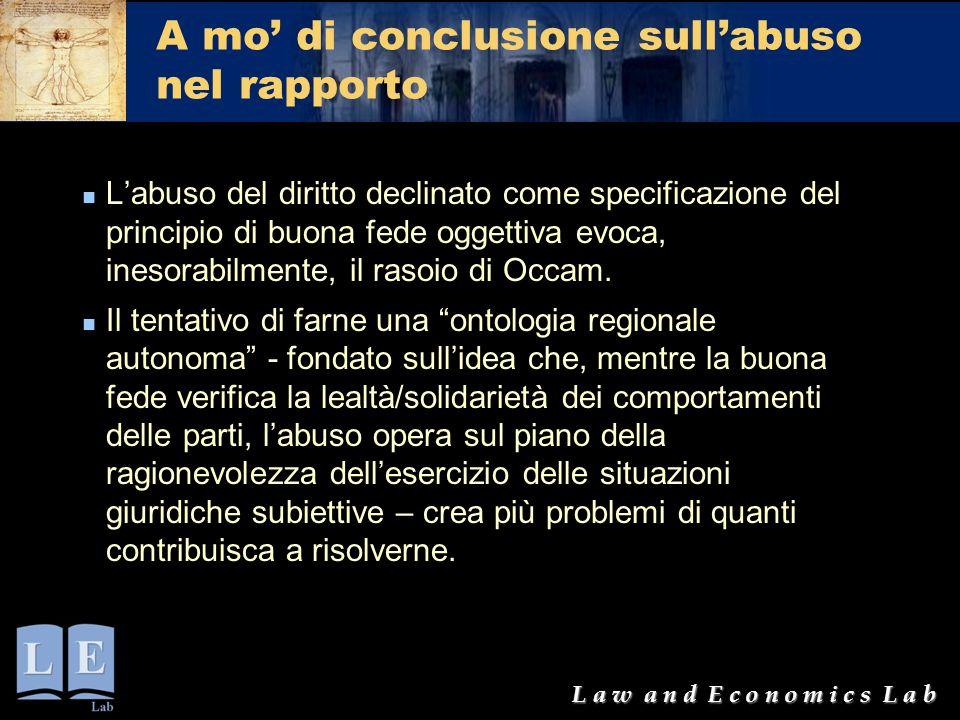 L a w a n d E c o n o m i c s L a b A mo' di conclusione sull'abuso nel rapporto L'abuso del diritto declinato come specificazione del principio di bu