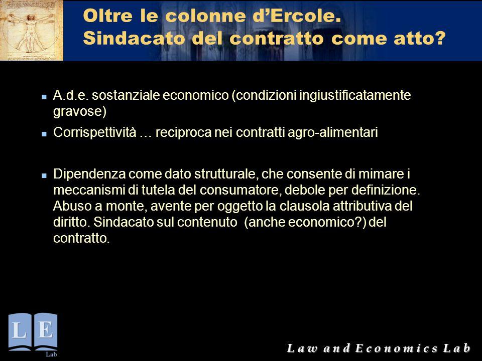 L a w a n d E c o n o m i c s L a b Oltre le colonne d'Ercole. Sindacato del contratto come atto? A.d.e. sostanziale economico (condizioni ingiustific