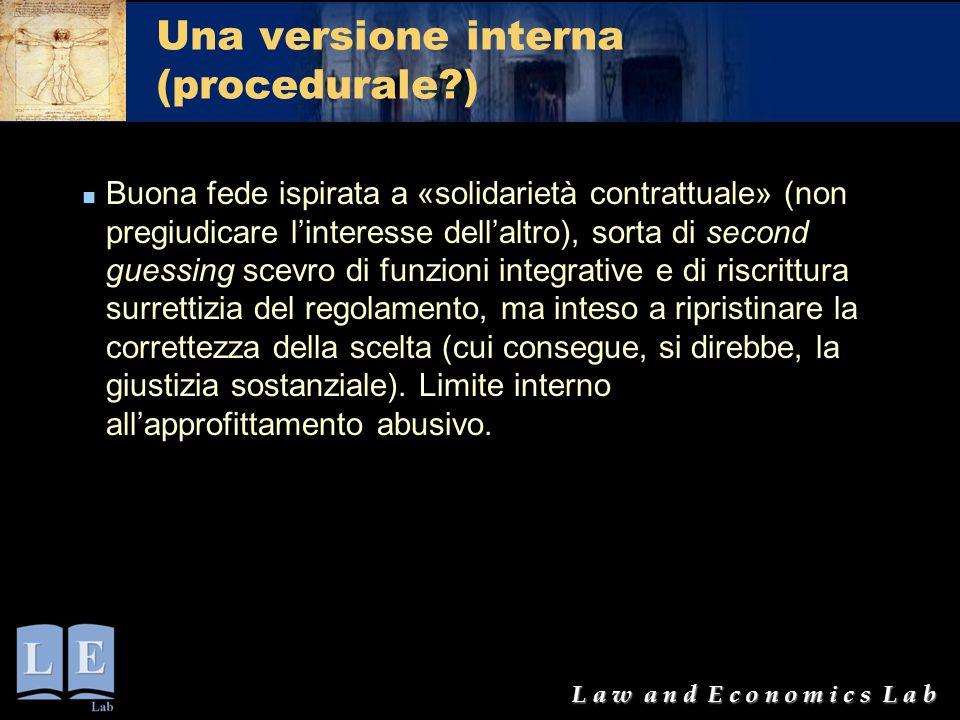 L a w a n d E c o n o m i c s L a b Una versione interna (procedurale?) Buona fede ispirata a «solidarietà contrattuale» (non pregiudicare l'interesse